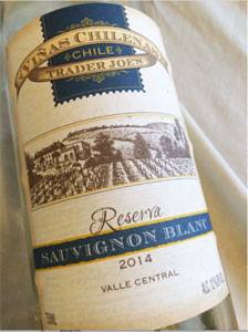 Viñas Chilenas Reserva Sauvignon Blanc  2014 Trader Joes