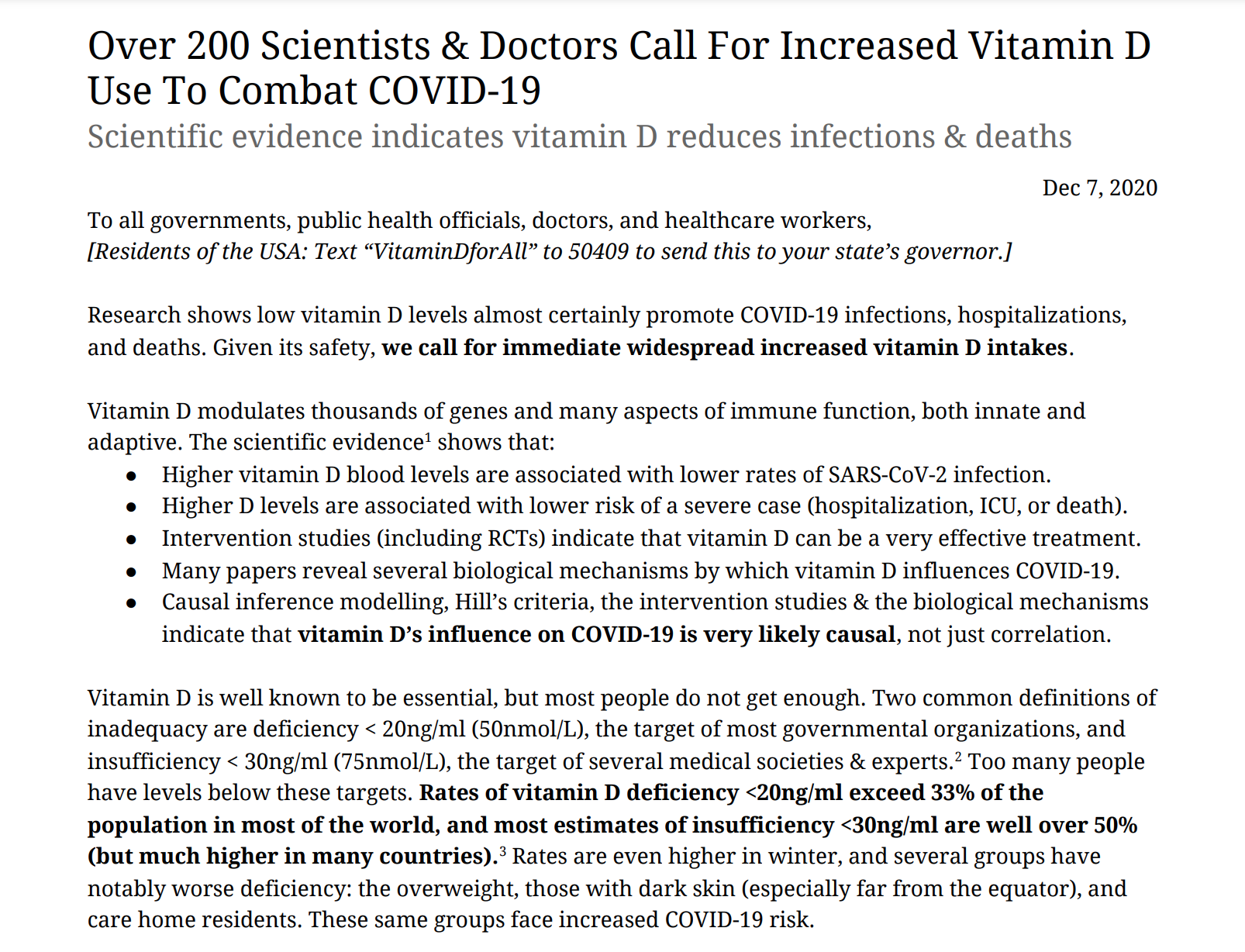 120 Medical & Science Experts Call for Vitamin D to Fight Covid-19